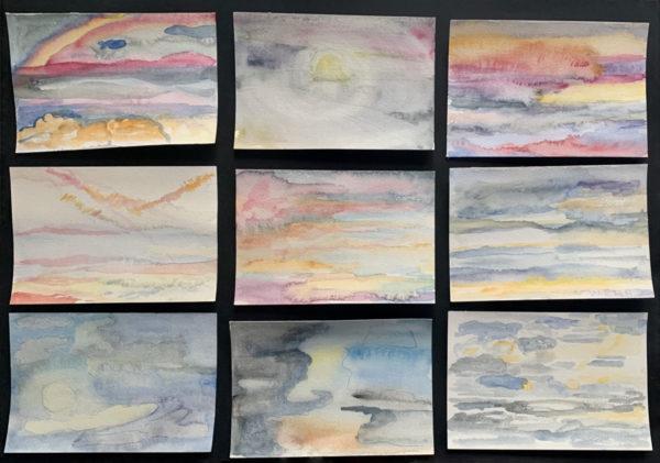 Watercolor paintings - 9 skies